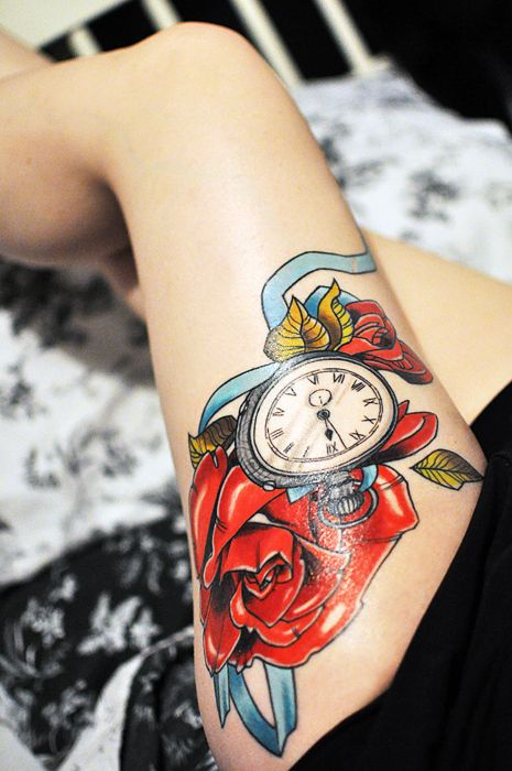 placementPocket Watches Tattoo, Alice In Wonderland, Thighs Tattoo, Vibrant Colors, Legs Tattoo, Tattoo Design, A Tattoo, Bright Colors, Ink