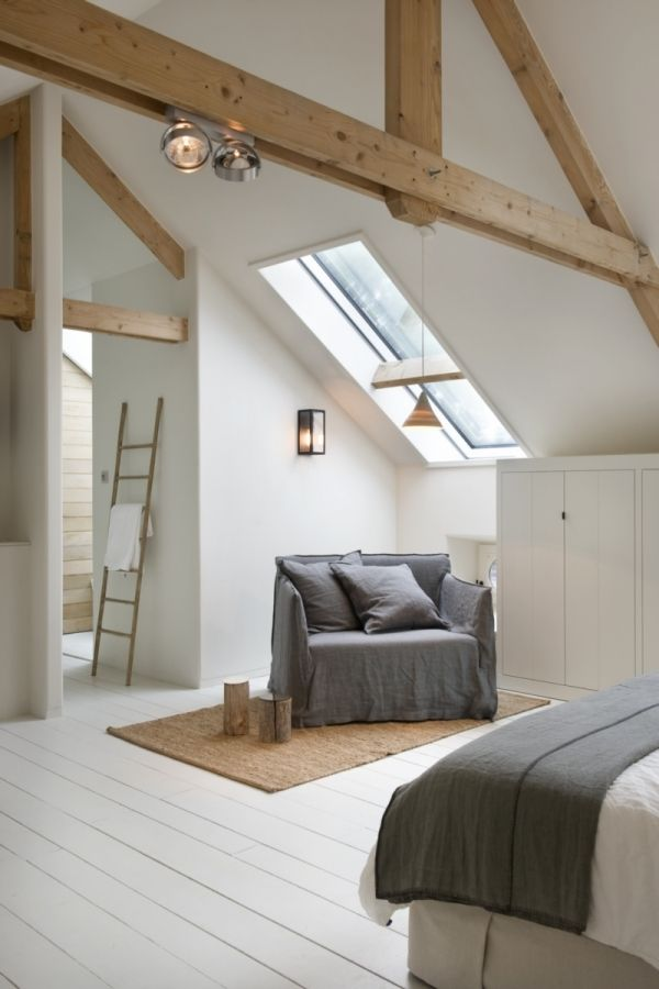 Gorgeous contemporary loft bedroom. For low wooden beds, mattresses and bedding try www.naturalbedcompany.co.uk