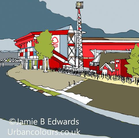 The City Ground Print | Nottingham Forest Print | Nottingham Forest Gift – URBAN COLOURS