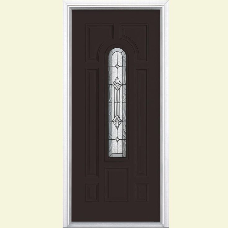 Masonite 36 in. x 80 in. Providence Center Arch Painted Steel Prehung Front Door with Brickmold, Willow Wood (Ecc-41-2)