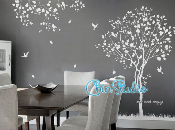 Description: The tree by itself is 180cm(71) high, the small leafy branch is approx. 68cm wide The decals can be reversed/mirrored. Just mention it in