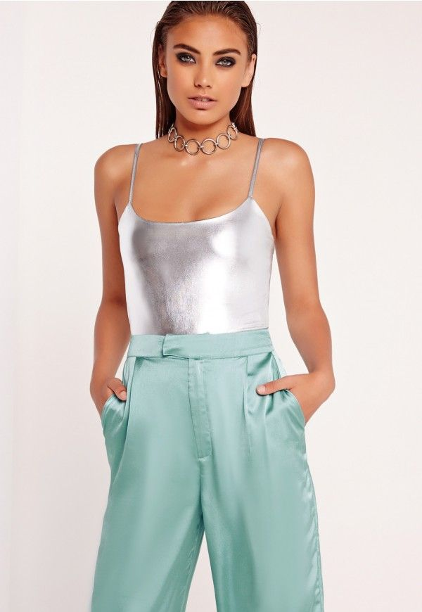 Peace + Love Strappy Bodysuit Silver - Missguided