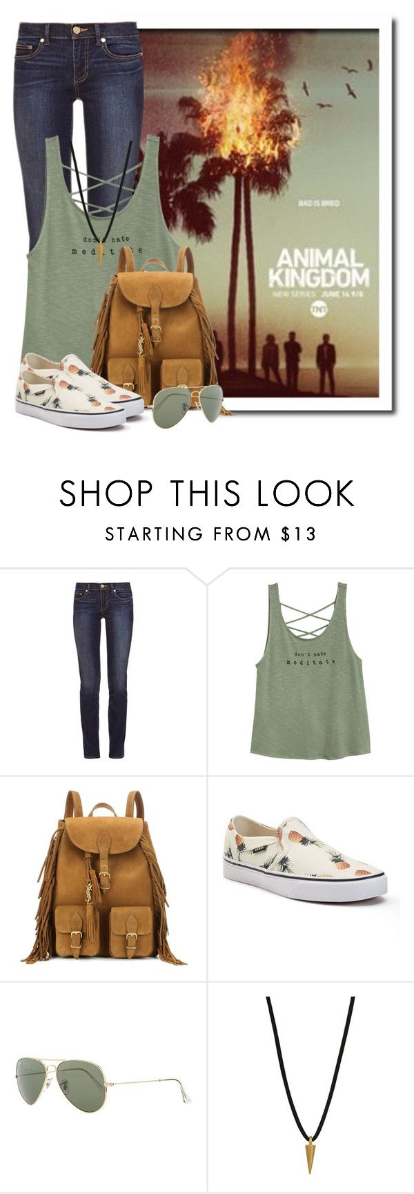 """Animal kingdom, Tuesdays at 9 on TNT"" by queenrachietemplateaddict ❤ liked on Polyvore featuring Tory Burch, Yves Saint Laurent, Vans, Ray-Ban, Dogeared, TV, tnt and animalkingdom"