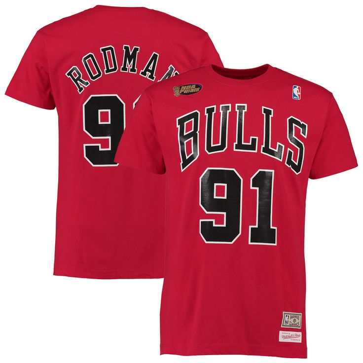 Men's Chicago Bulls Dennis Rodman Mitchell & Ness Red Hardwood Classics Name & Number T-Shirt