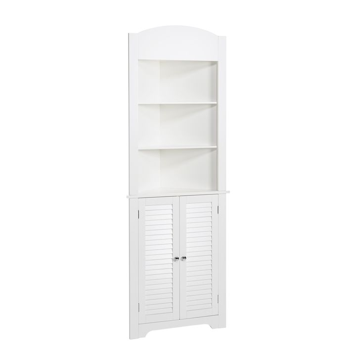 This Tall Corner Etagere Features A Convenient Design With Two Door Shutter Styling In