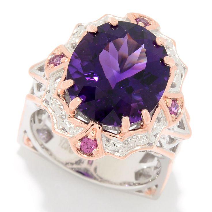 163-718 - Gems en Vogue 7.70ctw Ametista do Sul Amethyst & Rhodolite Ring