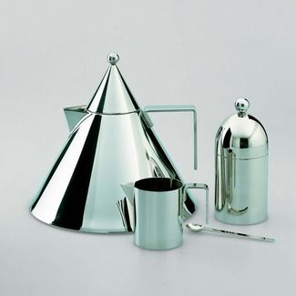 Alessi Aldo Rossi. Make this coffee/tea set in brass or copper and bring out on circular brass/copper tray