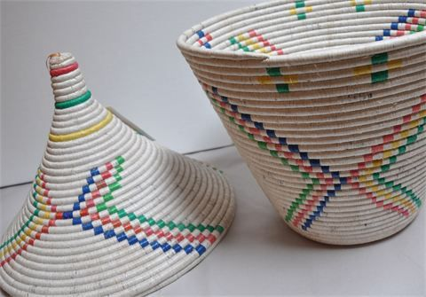 Woven Bowls and Baskets - recycled material : Hand woven and stitched from recycled rice bags, each of these beautiful baskets is unique.  A...