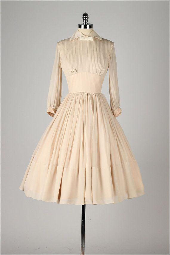 vintage 1950s dress . mocha chiffon . sheer by millstreetvintage