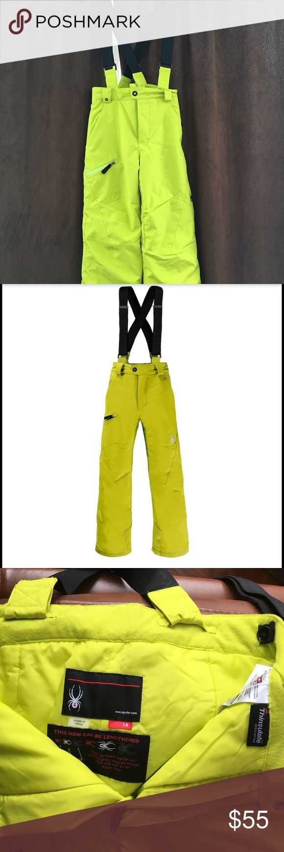 Boys Propulsion Ski Pant with suspenders Lime green big kids ski pant with detachable suspenders.  Good condition Spyder Bottoms