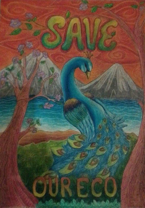 Poster Lingkungan Hidup Gambar Merak Save Our Eco Karya Agus Mujabfaqni Lukisan Lingkungan Hidup Poster