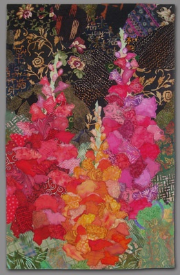 Snapdragons by Ellen Lindner.  Raw edge collage.: Backgrounds Raw Edge, Color Flower, Quilts Collage, Collage Art, Tall Flower, Edge Collage Quilts, Quilts Art, Art Quilts, Dark Backgrounds Raw