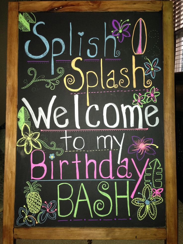 Surfs Up Party! Splish Splash! Chalkboard, Hawaiian Themed party, chalkboard markers