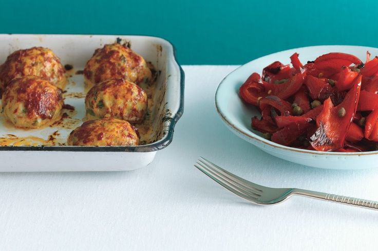 Baked Chicken Meatballs with Peperonata