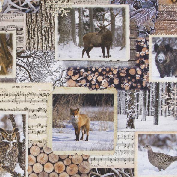 Bavlněná látka Zimní les a dřevo De luxe, digitální tisk