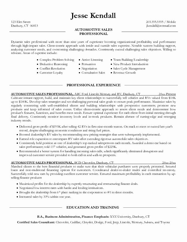 Automobile Sales Manager Resume New Salesperson Resume Sales Resume Examples Sales Resume Job Resume Samples