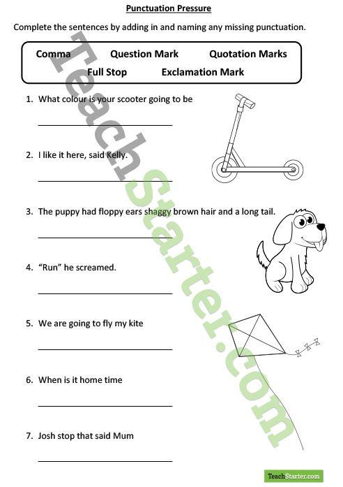 punctuation pressure worksheet teaching resource writing grammar pinterest student. Black Bedroom Furniture Sets. Home Design Ideas