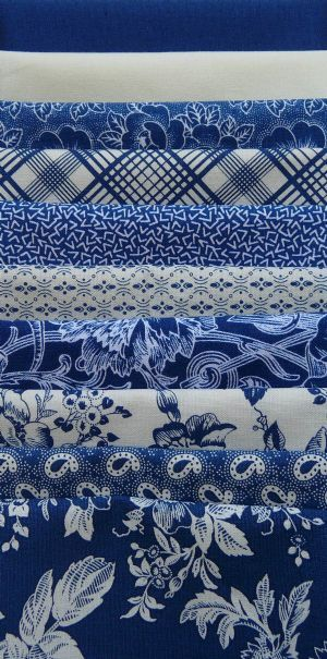 Gallery in Blue, Blue/White Half Yard Bundle (10)