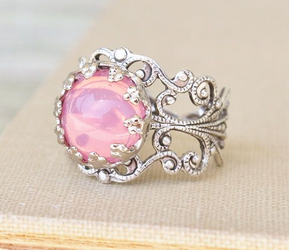 Vintage Pink Opal Ring,Pink Glass Opal,STURDY Adjustable Silver Filigree Ring,Antique,Victorian,Shabby Chic,Opal Jewelry,Birthstone,Keepsak on Etsy, $18.00