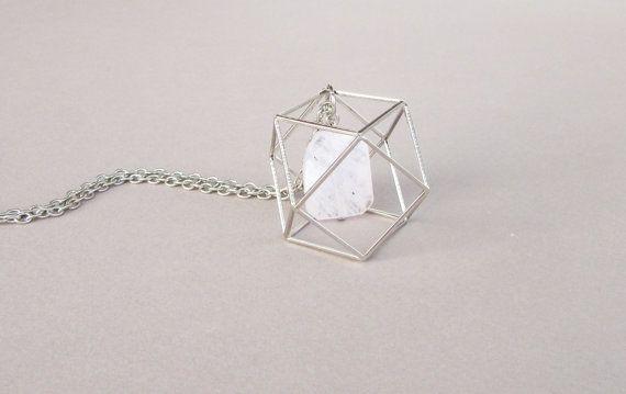 Zeshoek ketting 3D geometrische ketting Rookkwarts door DiaStyle