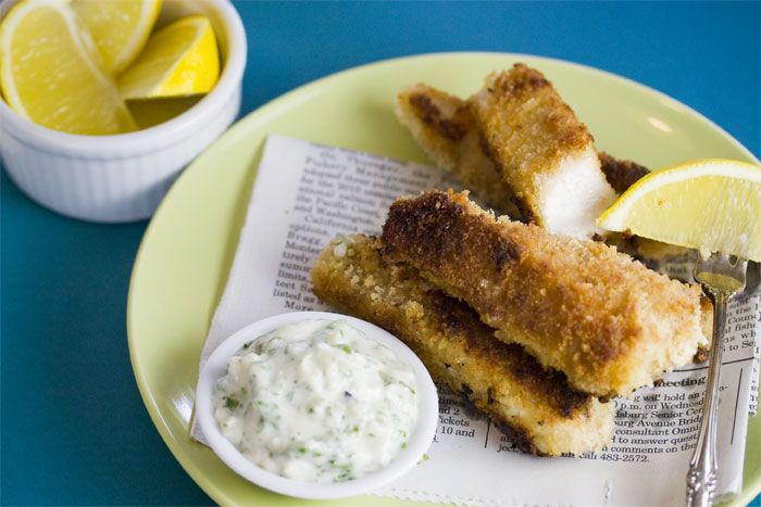 Commercial fish sticks are loaded with fillers and preservatives. Make your own and you can avoid all that. I'll often double this recipe and freeze half, so I have healthy fish sticks on hand for Noemi for busy nights. Just heat frozen fish fingers in the oven at 400 degrees F for about 15 minutes,