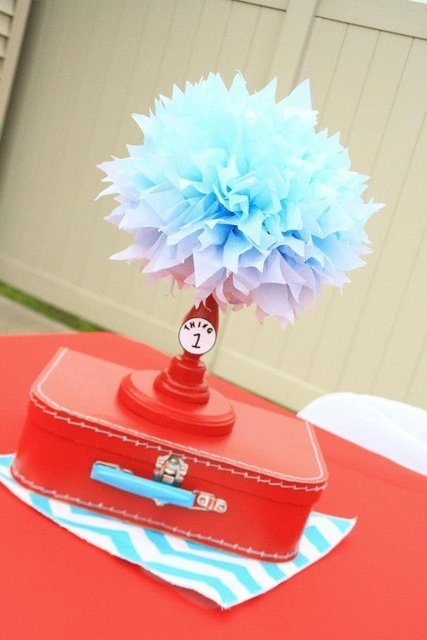 Dr. Seuss Thing 1 and Thing 2 1st Birthday Party for Twins - Twin - Red and Aqua Blue - Chevron & Polka Dots - centerpiece decorations - decor ideas