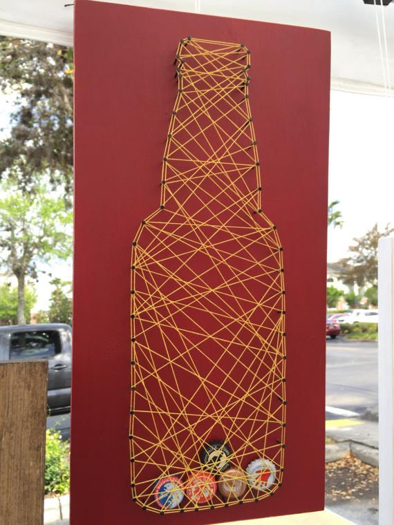 Red and gold beer bottle cap string art holder, cool way to display your bottle caps from your craft beers or your favorite beers! Custom colors available.