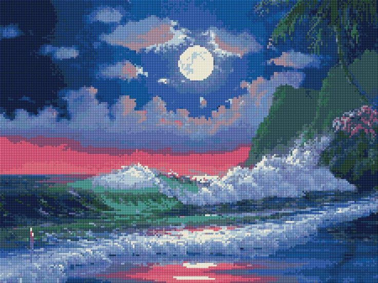 Seascape Free Cross Stitch Pattern Chart