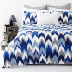 FLAMESTITCH Blue Quilt Cover Set by In 2 Linen | Linen Room
