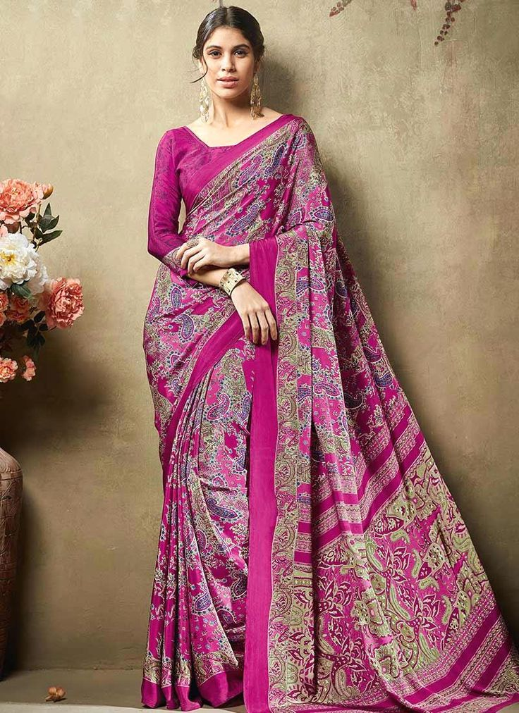 Incredible Print Work Crepe Silk Casual Saree