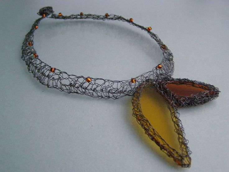 STEINED GLASS NECKLACE  made of steel wire - orange-yellow stained glass,beautiful and unique by EcoDyeing on Etsy