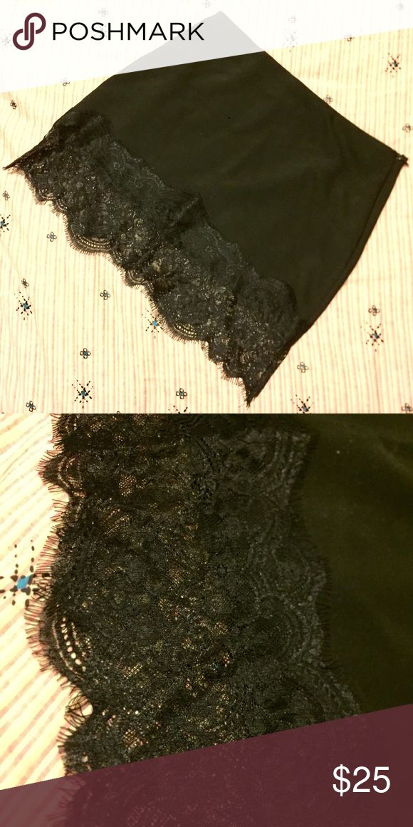 "Zara Black Lace Trim Skirt Has an elastic waistband-- a black skirt with a lovely black Lace trim on the Hem. Measures 16"" total length, with skirt ending at about 12"" and Lace hanging rest of the way. Waist laid flat is 14"". Never worn. Zara Skirts Mini"