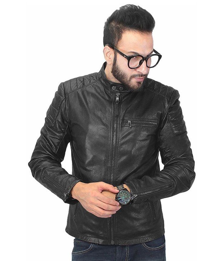 Bareskin Black Leather Full Sleeve Jacket