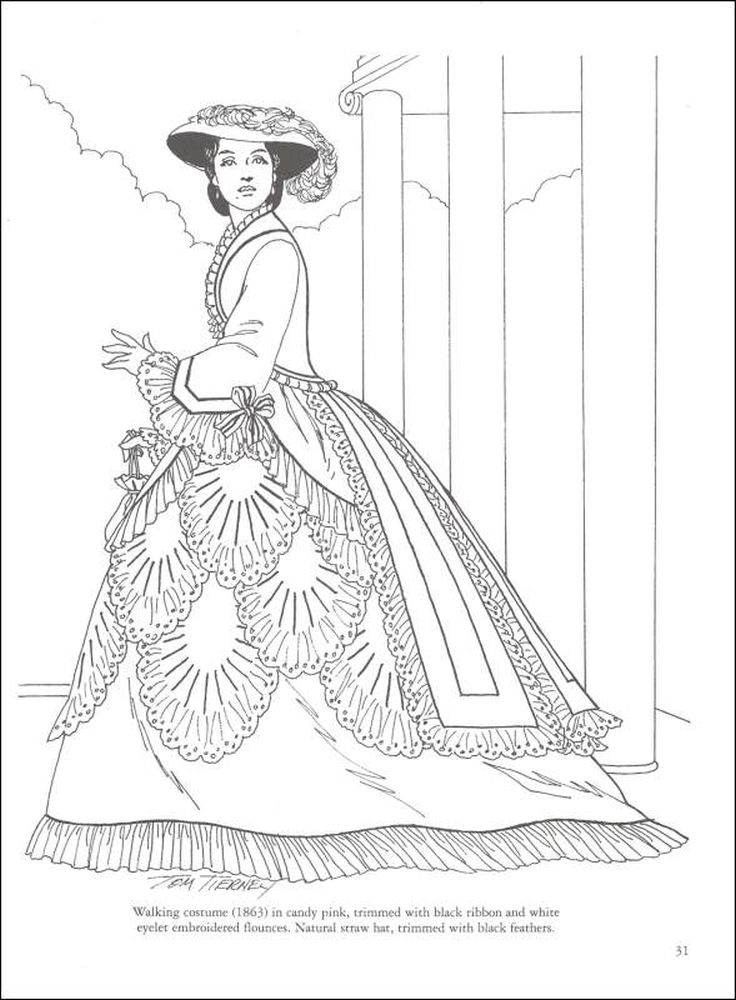 advanced coloring pages of victorian woman