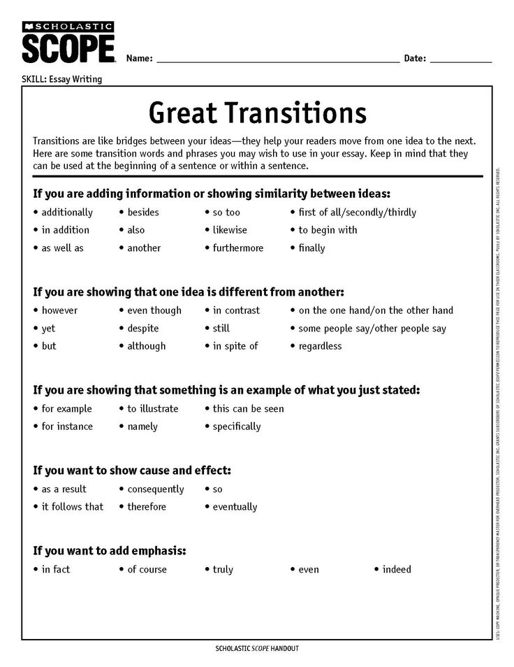 Transition word list for writing essays
