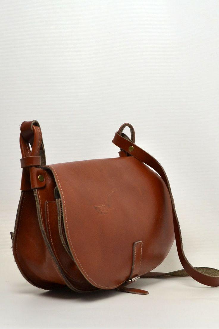Vintage Tan Leather Saddle Shoulder Bag - ACCESSORIES