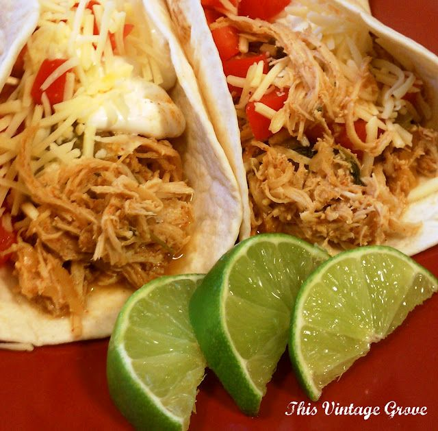 Cilantro Lime Chicken Tacos (crockpot style) - 1 lb. boneless skinless chicken breasts, juice from 2 limes, 1/2 cup of cilantro, 1 packet of taco seasoning, 1 teas. dried onions, 1/2 cup of water. Put all ingredients into crock-pot. Cook on low all day, or set crock-pot to high and cook for four(ish) hours. Shred, stir well. Spoon into soft corn taco tortillas. Top with cheese, sour cream, salsa, and tomatoes.