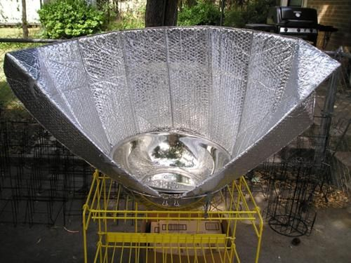 Kathy Dahl-Bredine developed the Windshield Shade Solar Cooker while experimenting with various...