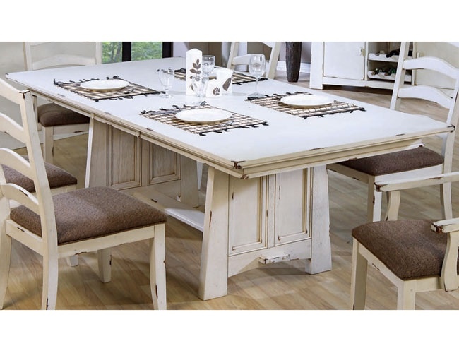 THE FURNITURE :: Distressed White Wash Finished Dining Set