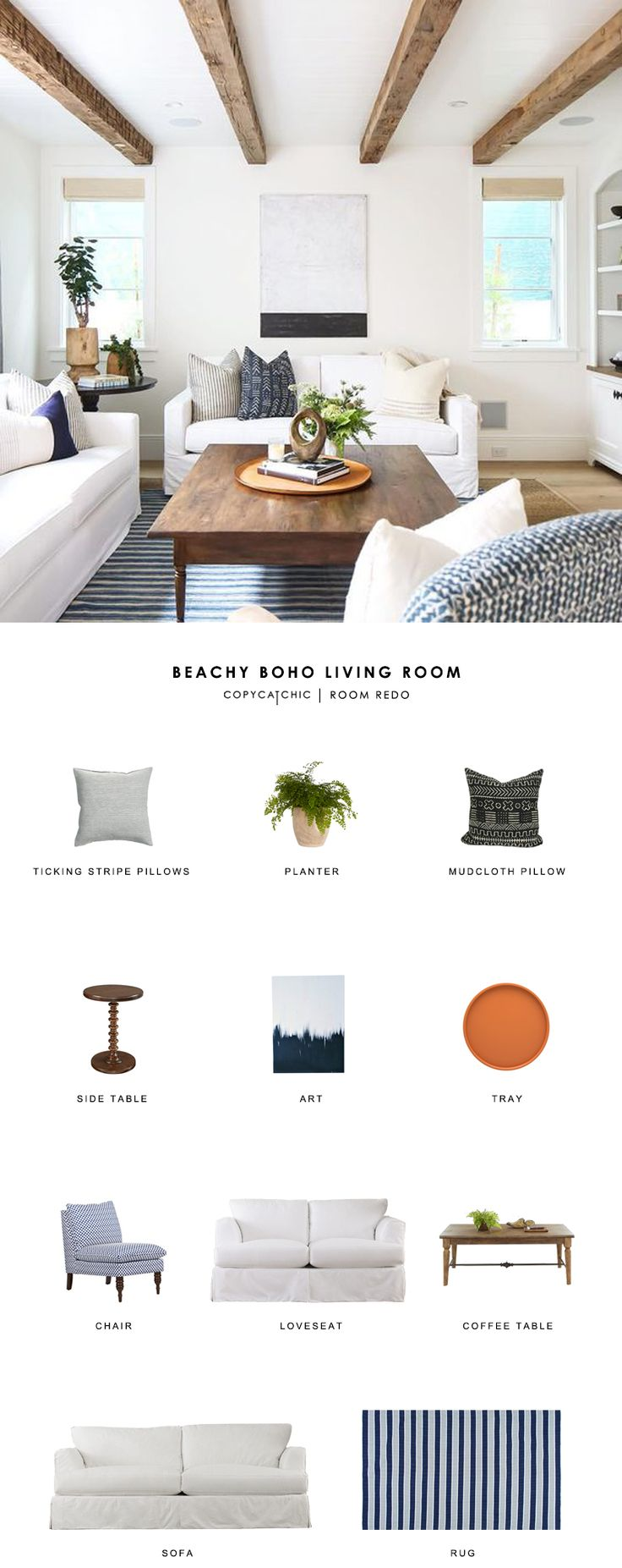 Copy Cat Chic Room Redo | Beachy Boho Living Room