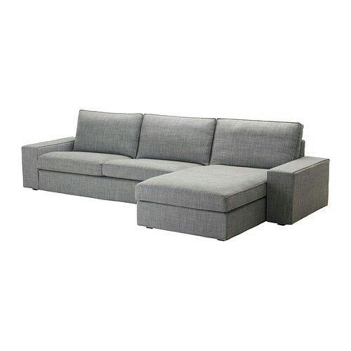 Ikea. KIVIK Sofá de 3 plazas y chaiselongue, Isunda gris ...