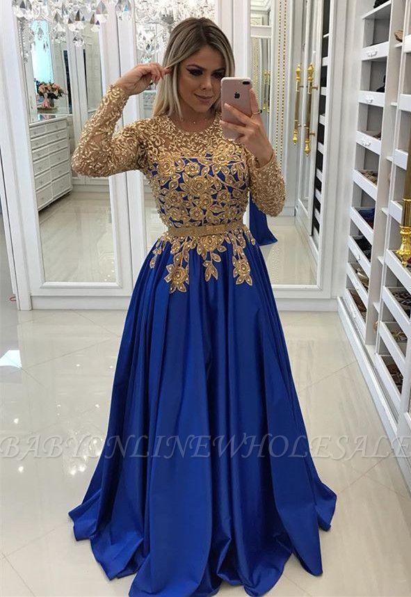 Modern Royal Blue   Gold Lace Evening Dress  c287b093890c