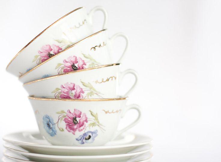 Vintage French Tea Cups Set Porcelain Limoges, White Retro, Pastel Pink, Light Blue, and Floral Gold