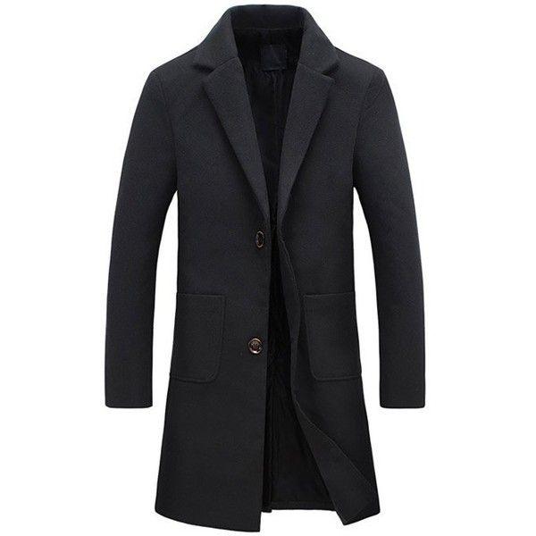 Turndown Collar Pockets Longline Wool Coat ($49) ❤ liked on Polyvore featuring men's fashion, men's clothing, men's outerwear, men's coats, mens fur collar coat, mens wool coats and mens wool outerwear