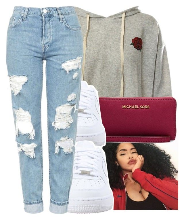 """Untitled #217"" by glowithbria ❤ liked on Polyvore featuring Sans Souci, Michael Kors, NIKE and Topshop"