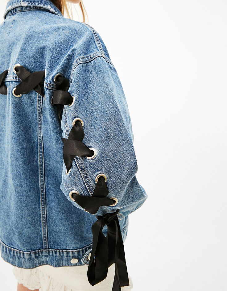 Denim jacket with ties. Discover this and many more items in Bershka with new products every week