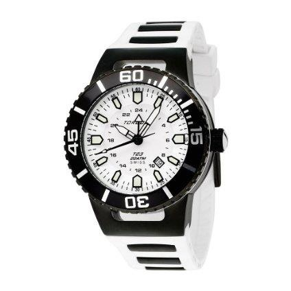 Torgoen T23304 20ATM dive watch with black ion-plated stainless steel case, white face with luminescent hands and markers on a white polyurethane band with black ion-plated stainless steel inserts.