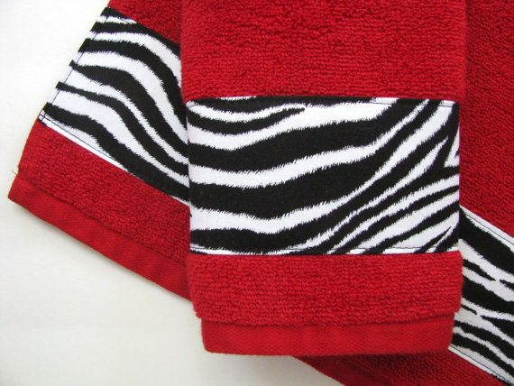 Red and Black Zebra Bath Towels Bathroom towels bath by AugustAve