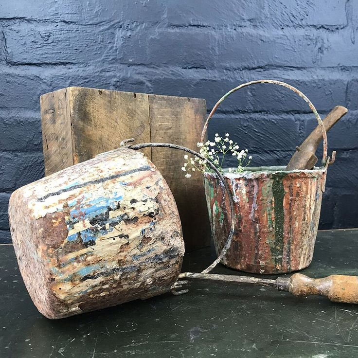 """Old Worn Paint Pots - Pair // A lovely pair of old worn paint pots, fabulously tactile, they make perfect planters."""" Those sold will be dispatched by The Blind Mol"""