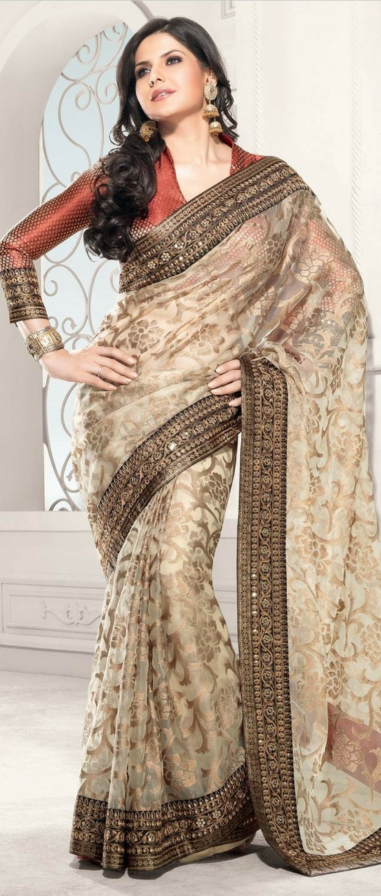 Light Fawn Tissue #Saree With Blouse @ $122.29